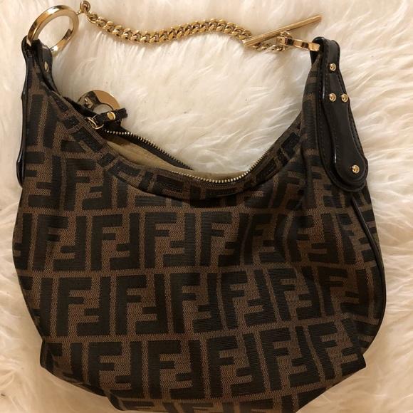 0d7b0431f07c Fendi Handbags - Authentic Fendi Zucca Hobo Brown and Gold chain